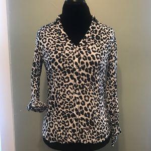 Leopard Print Button Up Long Sleeve Top